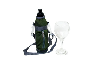 Water bottle and wine glass