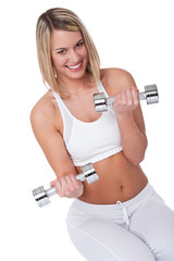 Fitness series - Smiling woman with weights