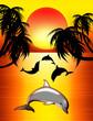 Delfini e Palme-Dolphins-Dauphins