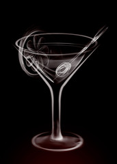 Artistic Illustration Smoke Martini Cocktail Glass on black