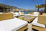 Luxury beach bar at Rhodes island in Greece poster