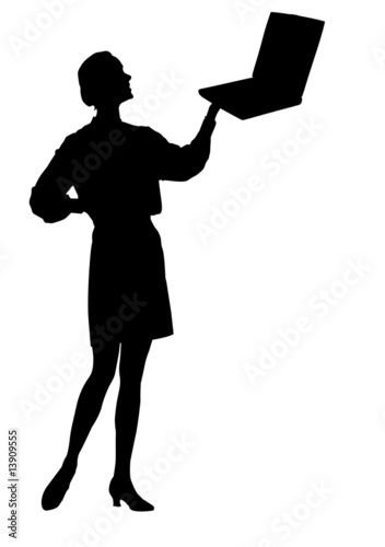 Silhouette female with laptop