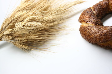 wheat ears and turkish bagels with sesame