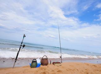 Pescando en la playa de La Griega