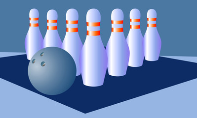 bowling on a blue background