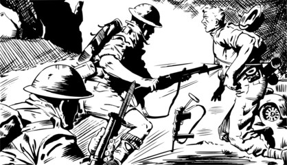 Scene in black and white soldiers during the battle