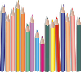 Pencils of colors on a white background