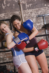 Two young women boxers
