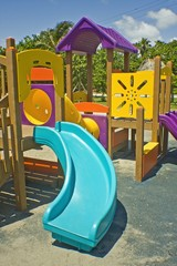 Colorful playground for children on a sunny day
