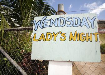 ladies night sign corn island nicaragua