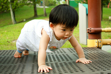 Asian Baby in Park