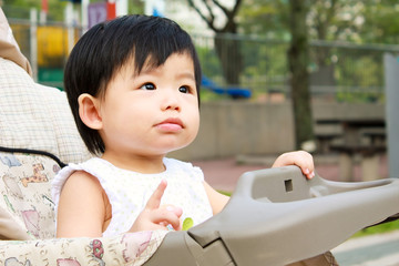 Asian Baby In Stroller