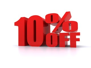 10% Percent off promotion sign