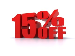 15% Percent off promotion sign