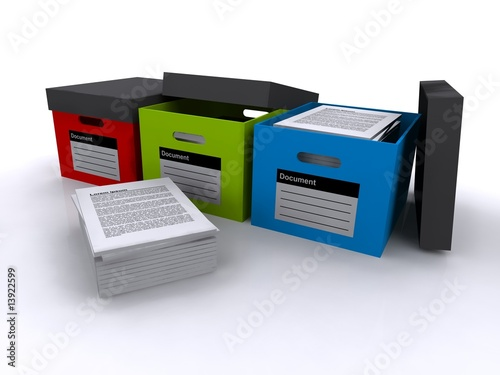 Three document storage boxes