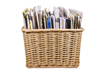 Basket with newspapers