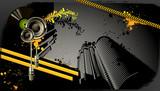 Modern grunge urban graphic design and loudspeaker poster
