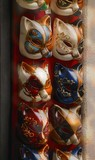 Feline masks used in masquerade for carnival in Venice Italy Europe poster