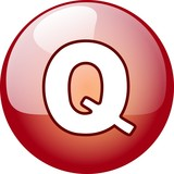 Q character button - red 3d