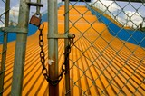 Locked up slide at amusement park