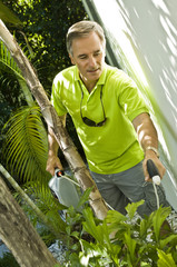 Man watering plants in the lawn