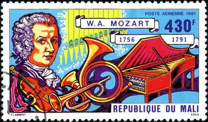 République du Mali, Mozart 1756-1791. Timbre postal