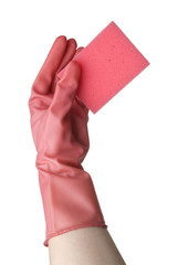 Woman hand in pink rubber glove holding a kitchen sponge