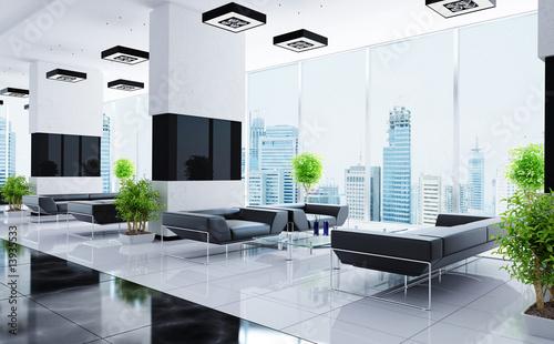 Modern interior of a hall - 13935533