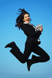 Businesswoman jumping