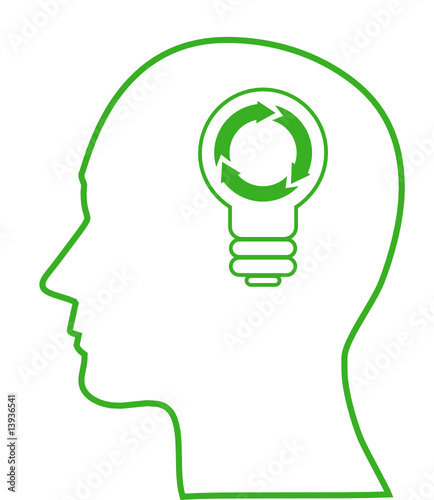 Illustration of bulb with ecology symbol in human head