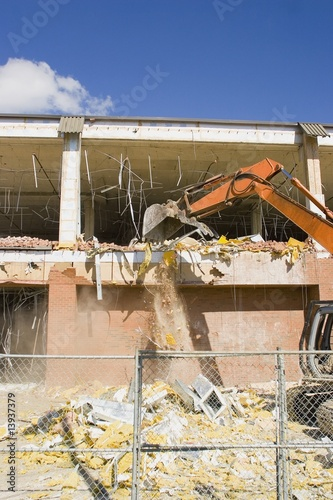 Demolition on a building