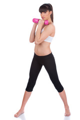 Young woman doing fitness exercises, isolate on white