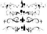 Wine list headers, vector set poster