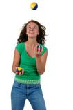 Isolated teenage girl juggling poster