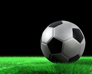 Soccerball and green grass in detail