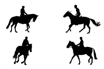 four   horseback riding silhouettes