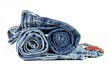 Gerollte Blue Jeans