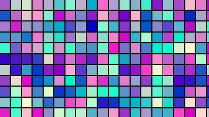 Mosaic of colored squares that change in color