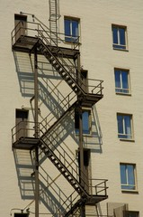 Fire escape in apartment building