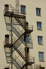Fire escape in apartment building