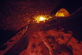 Campsite and kayak at night poster