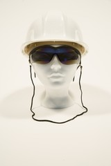 Mannequin wearing sunglasses and a hardhat