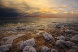 Coast of the Dead Sea in thunder-storm. The salty adjournment poster