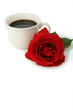 matin sucre, cafe noir et rose