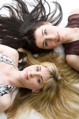 Two beautiful lying girls