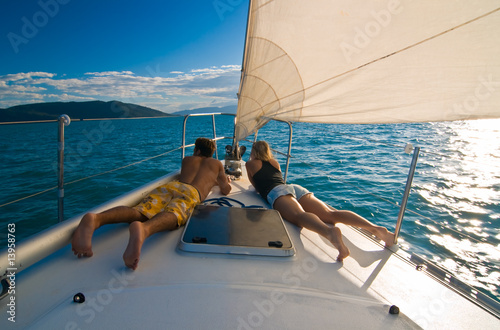 Leinwandbild Motiv Young couple on the deck