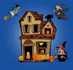 halloween haus mit fliegenden hexen
