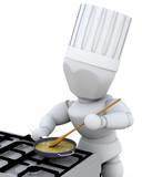 chef cooking at burner poster