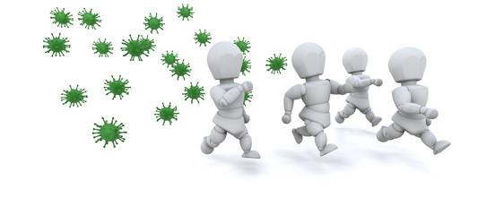 men running away from bacteria