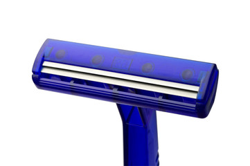 Blue razor closeup with clipping path